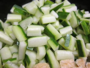Japanese Cucumbers, sliced and de-seeded