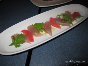I can't remember what this was!  Looks like grapefruit and raw fish - it wasn't very memorable as you can see