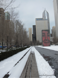 The famous Crown Fountain in Millennium Park.