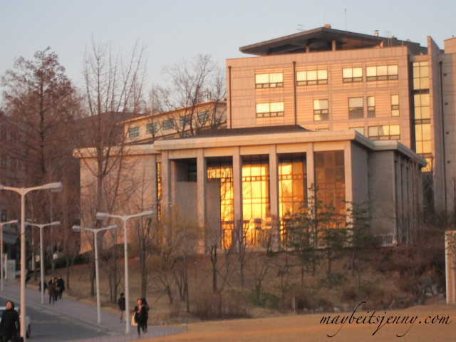 The sun was setting which made the school glow all the more...